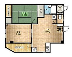 アイディール新城[3階]の間取り