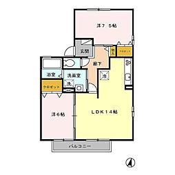 愛知県日進市竹の山5丁目の賃貸アパートの間取り