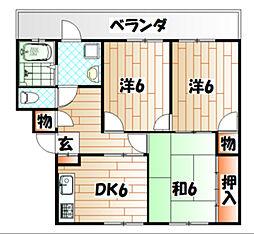 福岡県北九州市戸畑区福柳木1の賃貸マンションの間取り