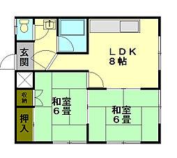 オキツアパート[2階]の間取り