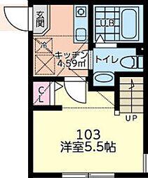 ゼクス橋本 1階1Kの間取り