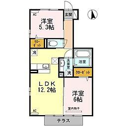 コーポ88II番館[1階]の間取り