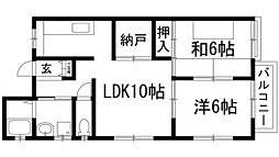 兵庫県宝塚市小浜4丁目の賃貸アパートの間取り