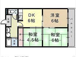 南海高野線 萩原天神駅 徒歩5分の賃貸マンション 3階3DKの間取り