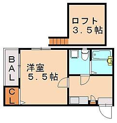 ベネフィスタウン六本松III[2階]の間取り