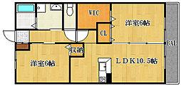 大阪府摂津市鳥飼下3丁目の賃貸アパートの間取り