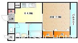 大阪府堺市堺区北庄町2丁の賃貸マンションの間取り