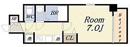 アスヴェル大阪サウスキャナル 5階1Kの間取り