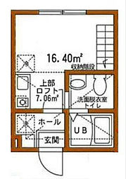 神奈川県横浜市中区石川町1丁目の賃貸アパートの間取り