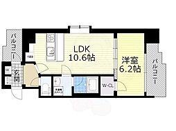 スプランディッド新大阪5 6階1LDKの間取り