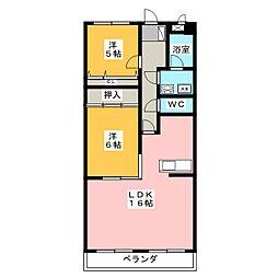 ベルハイツ司[2階]の間取り