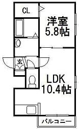 Reve Hiragishi[2階]の間取り