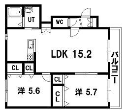 ヴィラ・ドゥ アカシヤB棟 1階2LDKの間取り