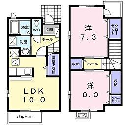 東京都八王子市楢原町の賃貸アパートの間取り