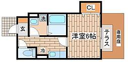 兵庫県神戸市須磨区松風町4丁目の賃貸アパートの間取り
