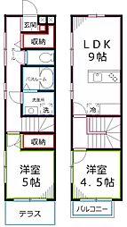 [テラスハウス] 東京都国立市西2丁目 の賃貸【/】の間取り