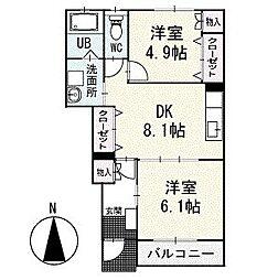 ツインクルテラス 1階[102号室]の間取り