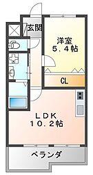 フラワーメゾン東園田 3階1LDKの間取り