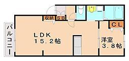 福岡県福岡市早良区干隈6丁目の賃貸アパートの間取り