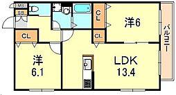 ヘーベルマンション大久保II[1階]の間取り