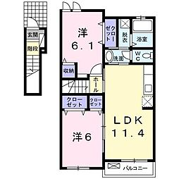 クレメント壱番館[2階]の間取り