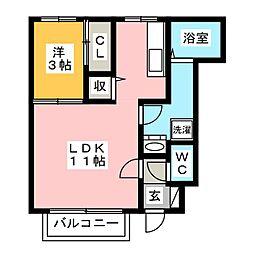 プレタストン 八番館[1階]の間取り
