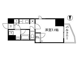 JR東西線 大阪天満宮駅 徒歩3分の賃貸マンション 15階1Kの間取り