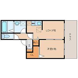 JR桜井線 長柄駅 徒歩15分の賃貸アパート 1階1LDKの間取り
