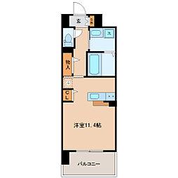 仙台市地下鉄東西線 連坊駅 徒歩9分の賃貸マンション 4階ワンルームの間取り