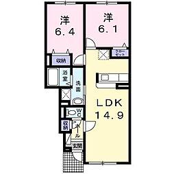 北海道旭川市新富一条3丁目の賃貸アパートの間取り