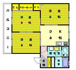 パイングローブ雁ノ巣B[1階]の間取り