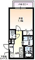 フジパレス田中町II番館 2階1Kの間取り