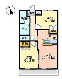 静岡県沼津市西椎路の賃貸アパートの間取り