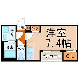 ハーモニーテラス高須賀町II 2階ワンルームの間取り