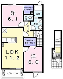 兵庫県三木市別所町近藤字東町中の賃貸アパートの間取り