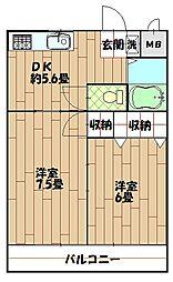 コーポ杉田No.2[102号室]の間取り