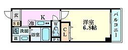 阪急千里線 柴島駅 徒歩3分の賃貸マンション 2階1Kの間取り
