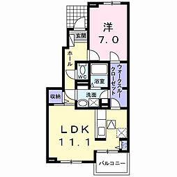 埼玉県春日部市西金野井の賃貸アパートの間取り