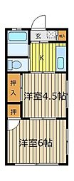 金子コーポ[103号室]の間取り