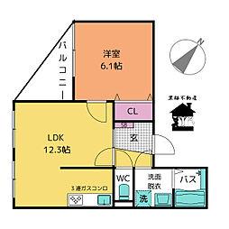 白壁ふたば荘[4階]の間取り