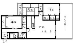 大阪府大阪市阿倍野区北畠3丁目の賃貸マンションの間取り