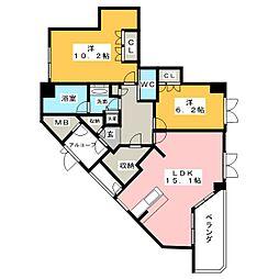 愛知県名古屋市瑞穂区彌富町字紅葉園の賃貸マンションの間取り