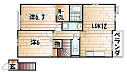 エスペランサA棟[2階]の間取り