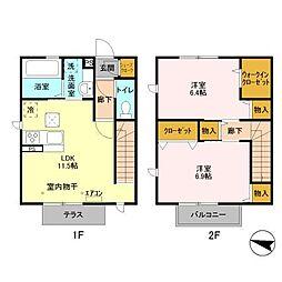 [テラスハウス] 千葉県柏市岩井 の賃貸【/】の間取り