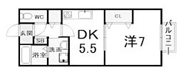 兵庫県西宮市門前町の賃貸アパートの間取り