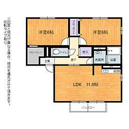JR東海道・山陽本線 河瀬駅 徒歩11分の賃貸アパート 1階2LDKの間取り