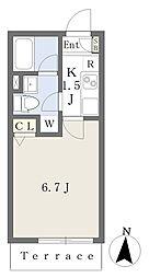 元日マンション North 1階1Kの間取り