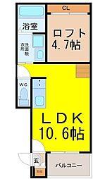 愛知県名古屋市港区南十番町4丁目の賃貸アパートの間取り