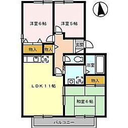 岡山県岡山市中区赤田の賃貸アパートの間取り