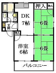 広島県広島市安佐南区西原6丁目の賃貸アパートの間取り